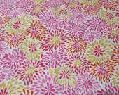 """Flannel Fabric - Red Pink Yellow Flowers - 28"""" REMNANT - 100% Cotton Flannel"""