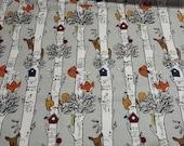 Flannel Fabric - Animals in Birch - REMNANT - 100% Cotton Flannel