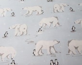 """Christmas Flannel Fabric - Polar Bear and Penguin on Ice - 26"""" REMNANT - 100% Cotton Flannel"""