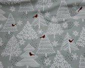 """Christmas Flannel Fabric - Red Cardinals in Trees - 20"""" REMNANT - 100% Cotton Flannel"""