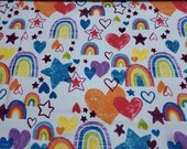 "Flannel Fabric - Rainbows and Hearts - 54"" REMNANT - 100% Cotton Flannel"