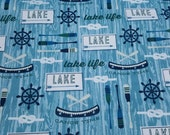 Flannel Fabric - Lake Life Blue - REMNANT - 100% Cotton Flannel