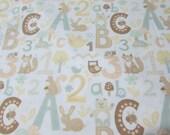 """Flannel Fabric - Alphabet Breeze - 22"""" REMNANT - 100% Cotton Flannel"""