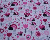 "Flannel Fabric - Ladybugs and Hearts - 22"" REMNANT - 100% Cotton Flannel"