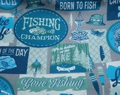 """Flannel Fabric - Gone Fishing - 23"""" REMNANT - 100% Cotton Flannel"""