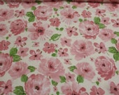 Flannel Fabric - Bunny Roses - REMNANT - 100% Cotton Flannel