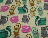 """Flannel Fabric - Kitty Breeds - 34"""" REMNANT - 100% Cotton Flannel"""