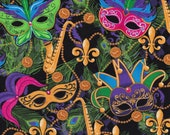 Cotton Fabric - Mardigras Masks with Fleur-de-lis Lily & Sax on Black Quilting Fabric - Select Your Size or By The Yard - 100% Cotton Fabric