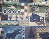 """Flannel Fabric - Woodland Patch Distressed - 26"""" REMNANT - 100% Cotton Flannel"""