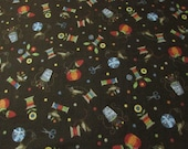 """Flannel Fabric - Sewing Things Brown - 19"""" REMNANT - 100% Cotton Flannel"""