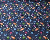 """Flannel Fabric - Rocket in Space - 25"""" REMNANT - 100% Cotton Flannel"""