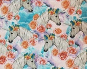 Floral Unicorn on Blue - 100% Cotton Fabric - Select Your Size or By The Yard