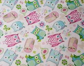 """Flannel Fabric - Owls on White - 15"""" REMNANT - 100% Cotton Flannel"""