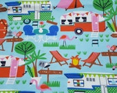Flannel Fabric - Camping Adventures - REMNANT - 100% Cotton Flannel