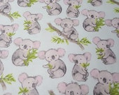 "Flannel Fabric - Sweet Koala - 24"" REMNANT - 100% Cotton Flannel"