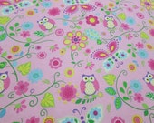 """Flannel Fabric - Owls and Butterflies Pink - 27"""" REMNANT - 100% Cotton Flannel"""