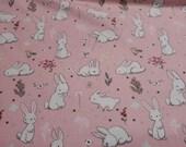 Flannel Fabric - Floppy Garden Allover Pink - REMNANT - 100% Cotton Flannel