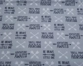 """Flannel Fabric - Boone Arrows and Words - 26"""" REMNANT - 100% Cotton Flannel"""