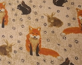 Flannel Fabric - Woodland Fox and Friends - REMNANT - 100% Cotton Flannel