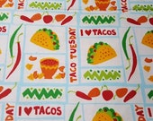 Flannel Fabric - Taco Tuesday - REMNANT - 100% Cotton Flannel