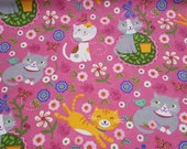 "Flannel Fabric - Springtime Cats - 23"" REMNANT - 100% Cotton Flannel"