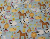 Flannel Fabric - Farm Animals on Blue - REMNANT - 100% Cotton Flannel