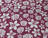 """Flannel Fabric - Simple Botanical Berry - 33"""" REMNANT - 100% Cotton Flannel"""