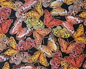 Packed Butterflies Metallic on Black, Harvest Fall Colors Quilt Cotton Fabric - Select Your Size or By The Yard - 100% Cotton Fabric