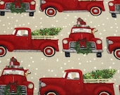 Christmas Flannel Fabric - Red Truck Christmas Tree - REMNANTS - 100% Cotton Flannel