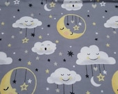 Flannel Fabric - Moon Clouds Grey - REMNANT - 100% Cotton Flannel
