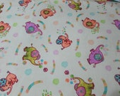 """Flannel Fabric - Elephant Party on Creme - 34"""" REMNANT - 100% Cotton Flannel"""