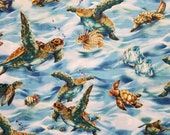 Sea Turtles Swimming North American Wildlife - 100% Cotton Fabric - Select Your Size or By The Yard