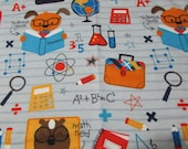 """Flannel Fabric - Science Geek Dog - 25"""" REMNANT - 100% Cotton Flannel"""
