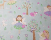 "Flannel Fabric - Princess Fairies - 25"" REMNANT - 100% Cotton Flannel"