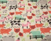 "Flannel Fabric - Fun Farm Animals - 25"" REMNANT - 100% Cotton Flannel"
