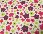 "Flannel Fabric - Bright Little Floral - 26"" REMNANT - 100% Cotton Flannel"