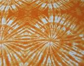 "Flannel Fabric - Sun Orange Circles TieDye - 29"" REMNANT - 100% Cotton Flannel"