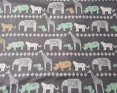 "Flannel Fabric - Safari Animal Lines - 28"" REMNANT - 100% Cotton Flannel"