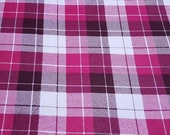 Flannel Fabric - Harper Plaid Pink - REMNANT - 100% Cotton Flannel