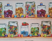 Cotton Fabric - Multi Buttons Jars on Shelves Sewing Quilt Cotton Fabric BTY - Select Your Size or By The Yard - 100% Cotton Fabric