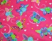 """Flannel Fabric - Happy Butterfly Pink - 33"""" REMNANT - 100% Cotton Flannel"""