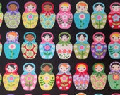 Cotton Fabric - Matryoshka Dolls on Black - Select Your Size or By The Yard - 100% Cotton Fabric