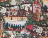Mountain Lodge Cabin Camping Hunting Fishing - 100% Cotton Fabric - Select Your Size or By The Yard