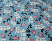 Flannel Fabric - Sleepy Pigs on Blue - REMNANT - 100% Cotton Flannel
