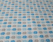 "Flannel Fabric - Elephant Parade Blue - 25"" REMNANT - 100% Cotton Flannel"