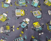 """Flannel Fabric - Blinky Robots on Gray - 32"""" REMNANT - 100% Cotton Flannel"""