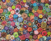 Cotton Fabric - Multi Buttons Packed Colorful Quilt Cotton - Select Your Size or By The Yard - 100% Cotton Fabric