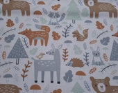 Flannel Fabric - Woodland All Over - REMNANT - 100% Cotton Flannel