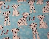 "Flannel Fabric - Dalmatians on Blue - 21"" REMNANT - 100% Cotton Flannel"