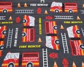 Flannel Fabric - Fire Rescue - REMNANT - 100% Cotton Flannel